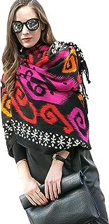 100% Pure Wool Women Winter Large Scarf Pashmina (Black)