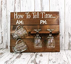 qilami How to Tell Time Wooden Sign, Sign Decor, Rustic Decor, Farmhouse Home Decor, Wine Glass Sign, Coffee Mug Sign, Kitchen Sign, Coffee Bar 855905