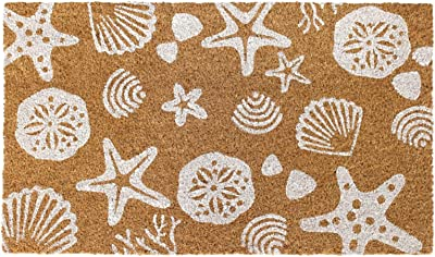 "Rugsmith White Sea Shells Machine Tufted Doormat, 18"" x 30"", Natural"