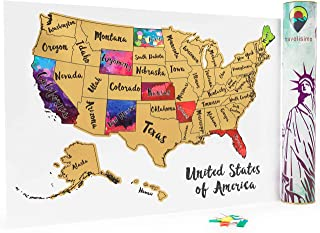 Travelisimo Scratch off Map of the United States - 12x17 US Watercolor Poster for Road Trip - USA Travel Accessories - With 10 Flags for Next Visited States