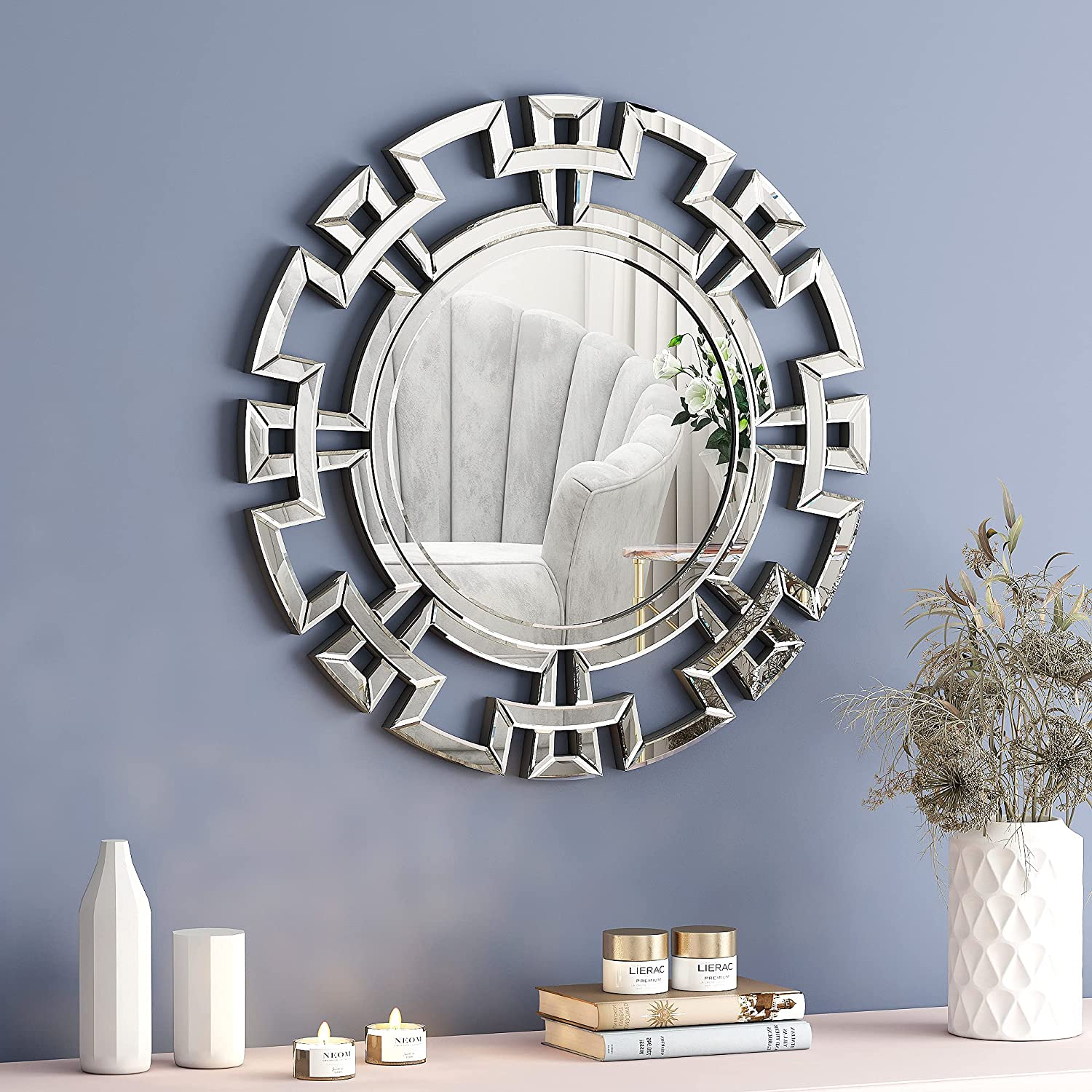 Decorative Mirrors for Wall Decor - SHYFOY Geometric Openwork Traditional Accent Mirror with Silver HD Glass, 31.5'' Silver Wall Mounted Decoration for Living Room Bedroom Fireplace Entry Hallway