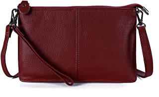 Genuine Full Grain Leather Wristlet Clutch Wallet Purses Small Crossbody Bags for Women