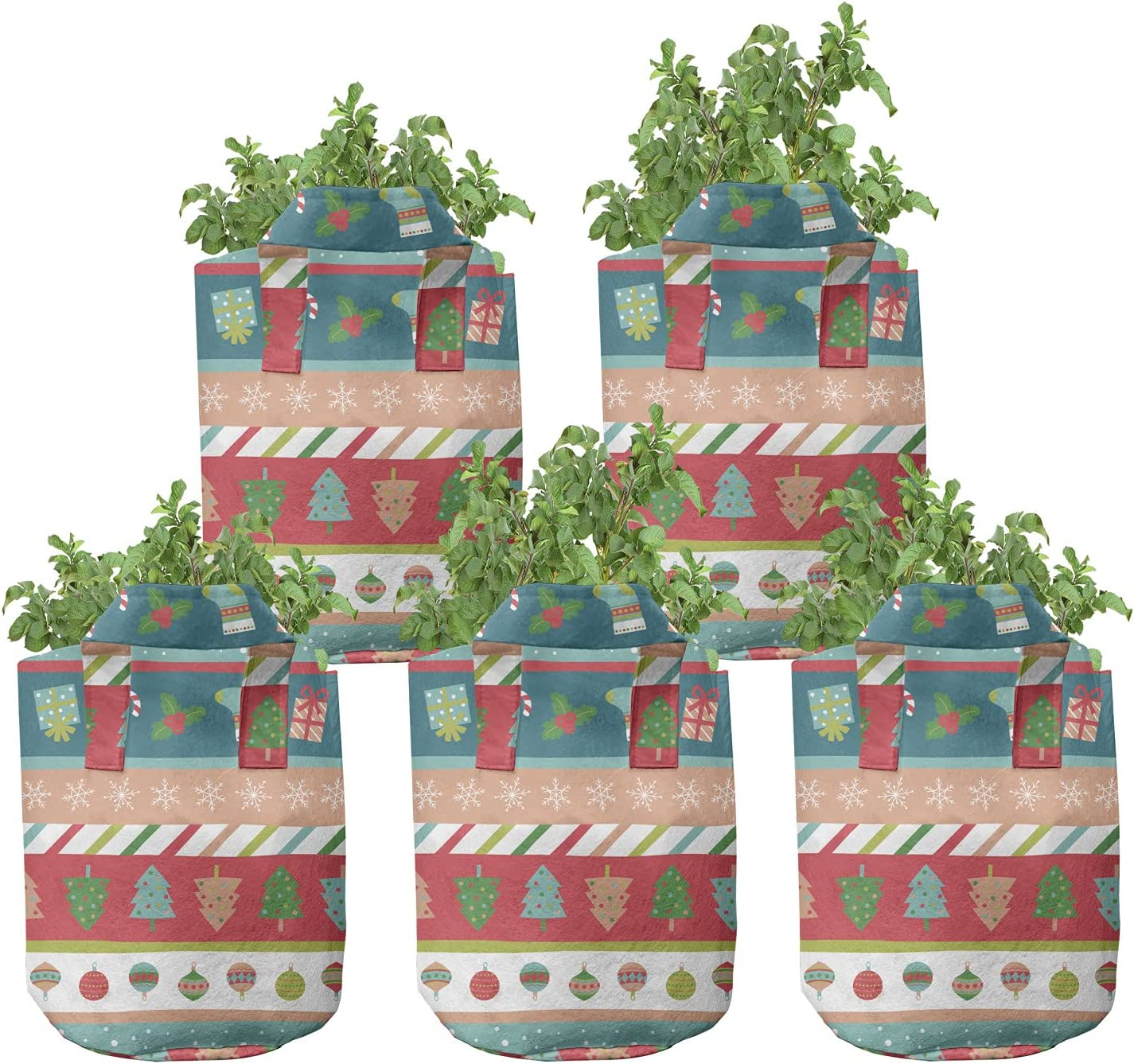 Ambesonne Winter Grow Bags 5-Pack Christmas Max 58% OFF Family Vacation Ranking TOP16 He