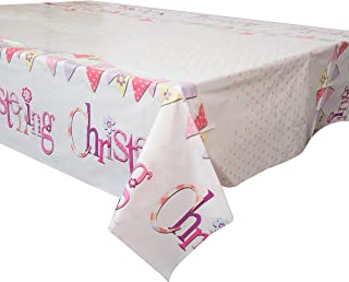 Unique Party 52033 - Plastic Pink Bunting Christening Tablecloth, 7ft x 4.5ft