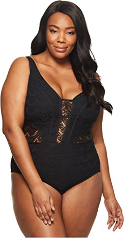 BECCA by Rebecca Virtue - Plus Size Color Play Plunge One-Size
