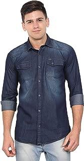 OJASS Men Solid Casual Blue Shirt
