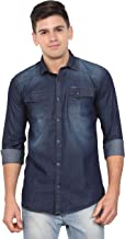 OJASS Men Solid Casual Blue Shirt