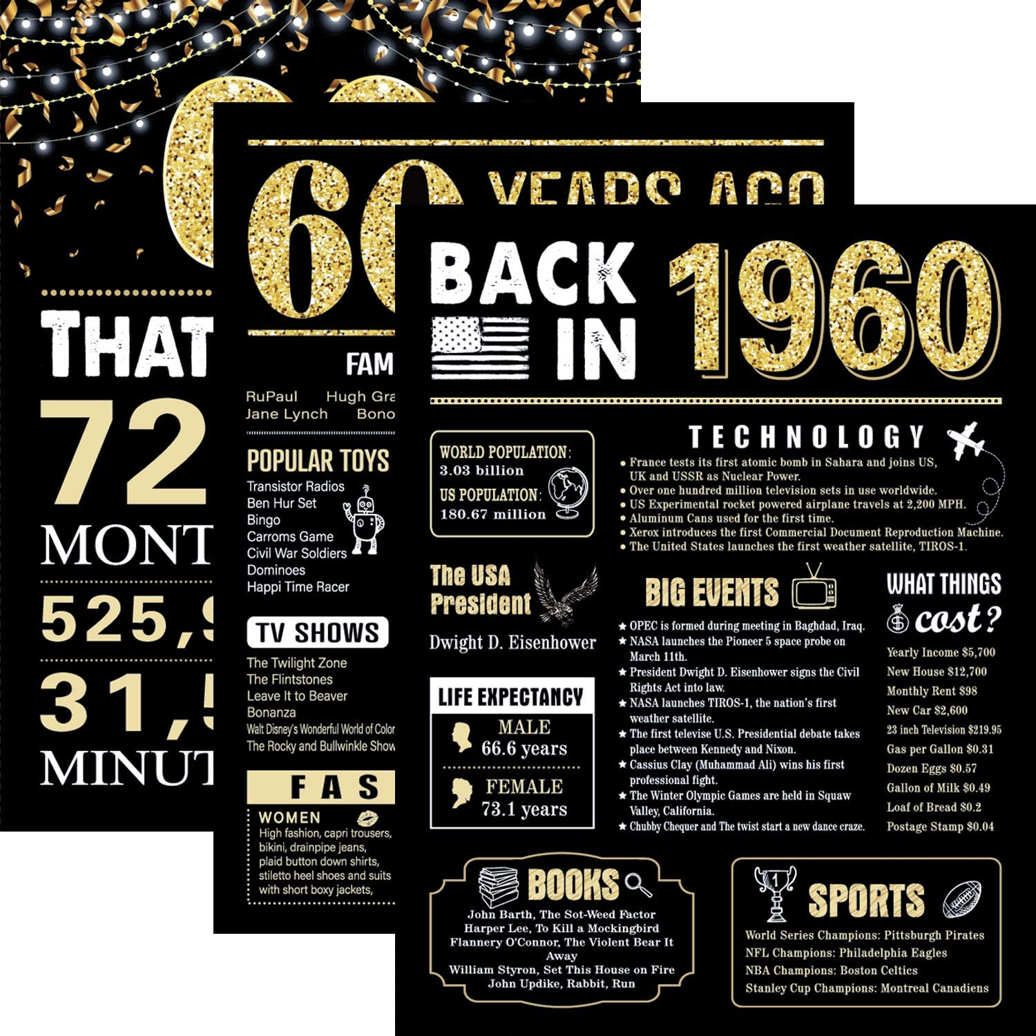 61 Years Ago 1960 Birthday Wedding Anniversary Poster 3 Pieces 11 x 14 Party Decorations Supplies Large Sign Home Decor for Men and Women (Back in 1960-61 Years)
