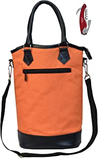 Vina 2 Bottle Wine Tote Bag - Thermal Insulated Champagne Purse Cooler Carrier with Strong Handle and Shoulder Strap, Great for Travel and Restaurants, Picnics, Orange