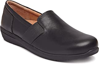 Vionic Women's Magnolia Gianna Leather Slip On Flats - Ladies Walking Shoes with Concealed Orthotic Arch Support