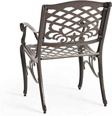 Christopher Knight Home Hallandale Outdoor Cast Aluminum Dining Set for Patio or Deck, 5-Pcs Set, Hammered Bronze
