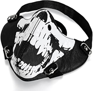 Motorcycle Skeleton Mask for Halloween Cosplay - Skull Mask Half Face for Out Riding Motorcycle Black