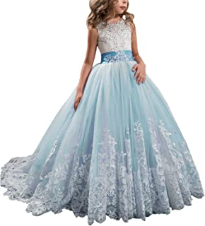 bafd032af Princess Lilac Long Girls Pageant Dresses Kids Prom Puffy Tulle Ball Gown