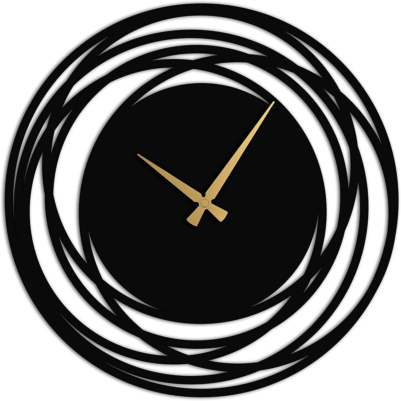 Venovez Large Wall Clock Black Metal Max 75% OFF supreme Decor B Art Silent