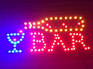 LED Bar Sign - Open Bar Led Neon Motion Light Sign. On/Off with Chain