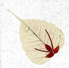 Greeting Card Note Card Pressed Flower on Peepal Leaf Handmade Paper Card Stock