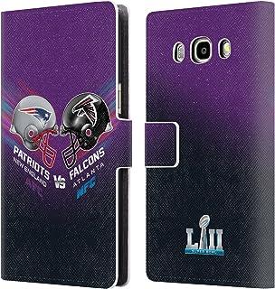 Head Case Designs Oficial NFL Patriots vs Eagles 3 2018 Super Bowl LII Versus Carcasa de Cuero Tipo Libro Compatible con Samsung Galaxy J5 (2016)