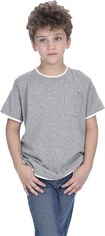 State Cashmere Kids Crew Neck Short Sleeve Pocket Cotton Cashmere T-Shirt Boy's Tee