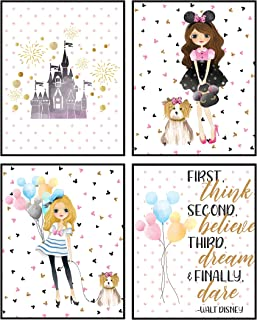Silly Goose Gifts Dole Whip Mickey Ears Castle Dream Themed Wall Art Room Decor Prints (Think Believe Dream)