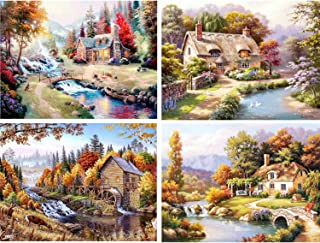 HaiMay 4 Pack DIY 5D Diamond Painting by Number Kits Full Drill Embroidery Pictures Arts Craft for Home Wall Decoration, Village Landscape(12 X 16 inch)