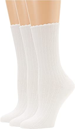 HUE - Scalloped Pointelle Socks 3-Pack