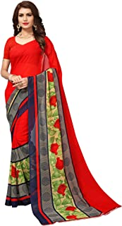 AKHILAM Women'S Georgette Saree (Georgette14001_Red_ Free Size)