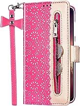 Uposao Beschermhoes voor Huawei Nova 5, met ritssluiting, klapbeschermhoes van PU-leer, tas portefeuille + koord van stri...