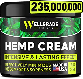 Hemp Cream 4 fl oz - Made in USA - Natural Hemp Extract Cream - for Discomfort in Knees, Joints and Lower Back - Hemp Oil ...