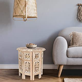 Solid Wood Hand Carved Accent Table, Side Table, entryway Table, Wooden end Table, Bedside Table, Octagonal Wooden Table - 15 Inch Round Top x 15 Inch High - White Wash