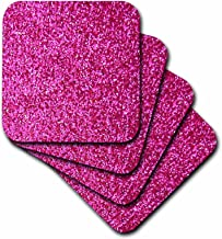 3dRose cst_112888_1 Hot Pink Faux Glitter-Photo of Glittery Texture-Girly Trendy-Glamorous Sparkly Bling Effect-Soft Coasters, Set of 4