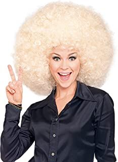 Super Size Blond Afro Wig, As shown, One size