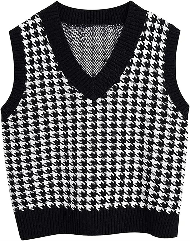 Women Fashion Oversized Houndstooth Vest V Sweaters Neck Vintage Time sale National products