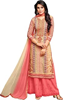 Rajnandini Women's Pure Muslin Semi-Stitched Embroidered Salwar Suit With Stitched Plazzo(MFM113_Cream_Free Size)