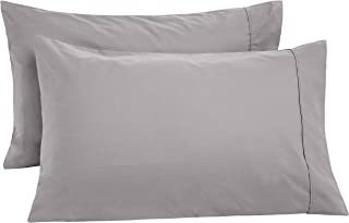 AmazonBasics Ultra-Soft Cotton Pillowcases, Breathable, Easy to Wash, Set of 2, Graphite Grey, Standard