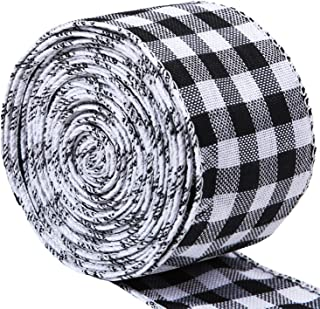 URATOT White and Black Plaid Burlap Ribbon Gingham Christmas Wrapping Ribbon Wired Plaid Ribbon for Crafts Decoration, Floral Bows Craft, 236 by 2.48 Inches