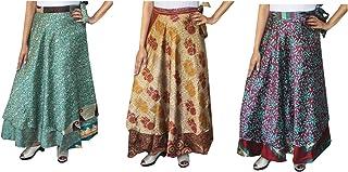 Wholesale 3 Pcs Lot Two Layers Women's Indian Sari Magic Wrap Around Long Skirt