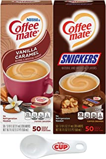 Nestle Coffee mate Liquid Coffee Creamer Singles Variety Pack, Snickers, Vanilla Caramel, 50 Ct Box (Pack of 2) with By Th...