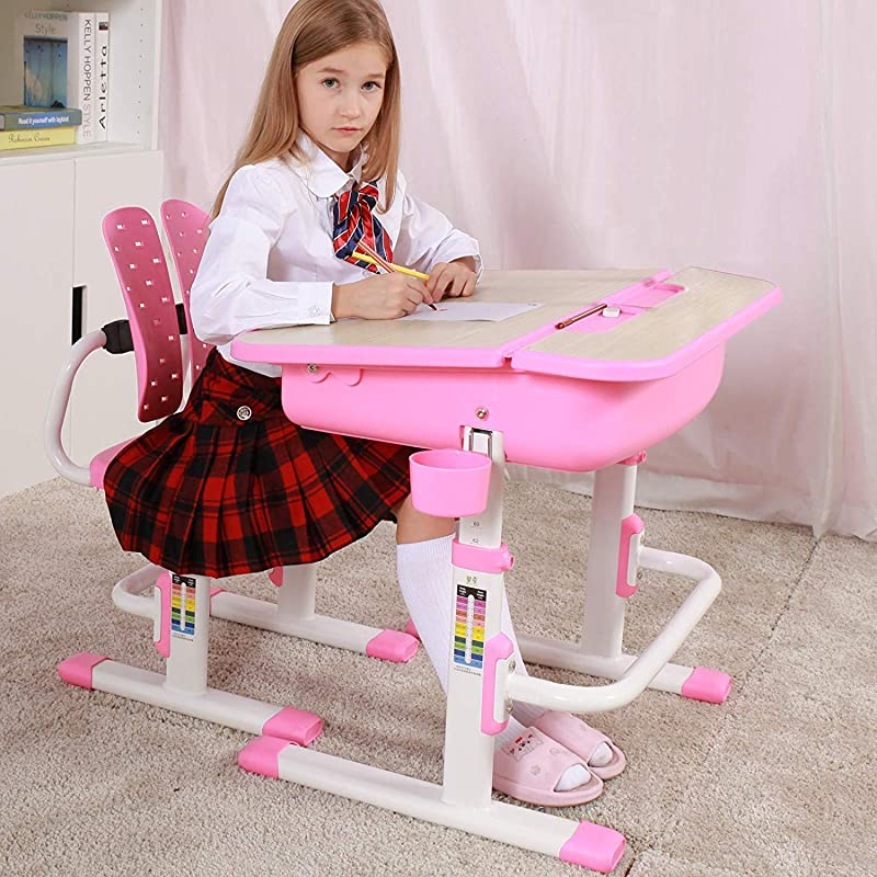 Mecor Kids Desk And Chair Set Children Study Table Wood Grain Inclined Tabletop Large Drawer Storage Student School Desk Set Ergonomic Winged Backrest Chair Pink
