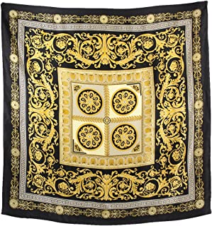 Women's 100% Square Silk Scarf - Leopard Print and Chain