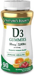 Vitamin D3 Gummies by Nature's Bounty, Vitamin Supplement, Supports Immune Health, 50mcg, 2000IU, Mixed Fruit Flavor, 90 G...