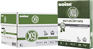 "BOISE X-9 Multi-Use Copy Paper, 8.5"" x 11"" Letter, 92 Bright White, 20 lb., 10 Ream Carton (5,000 Sheets)"