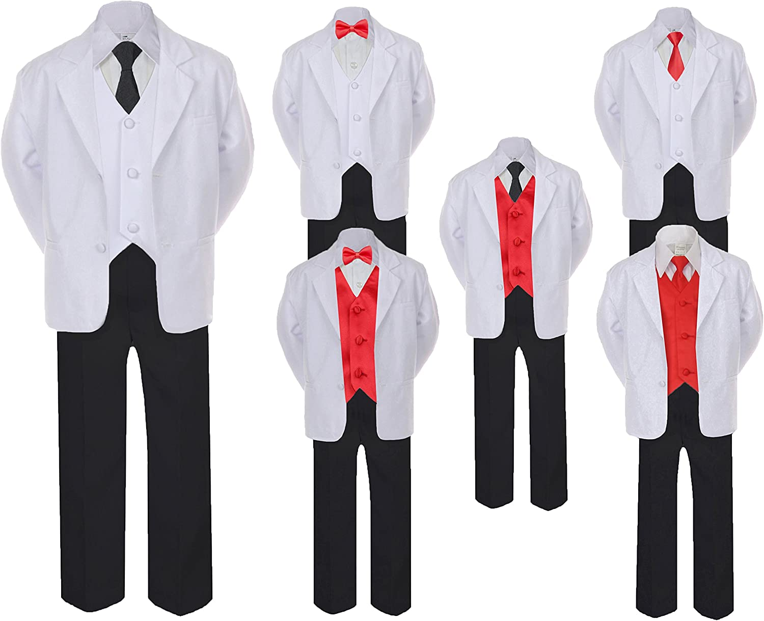 Latest item 5-7pc Formal Black White Suit Set Red Tie Boy Vest High order Baby Bow Long