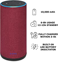 Battery Base for Echo 2, Gorgeous Linen-Covered Portable Power Bank with 10,000mAh Capacity for up 8 Hours of Continuous Playtime for Echo 2nd Generation - by Wasserstein (Red Fabric Cover)