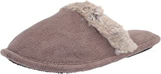isotoner Women's Microterry Spa Clog Slipper with Enhanced Heel Cushion, Taupe, 7.5-8