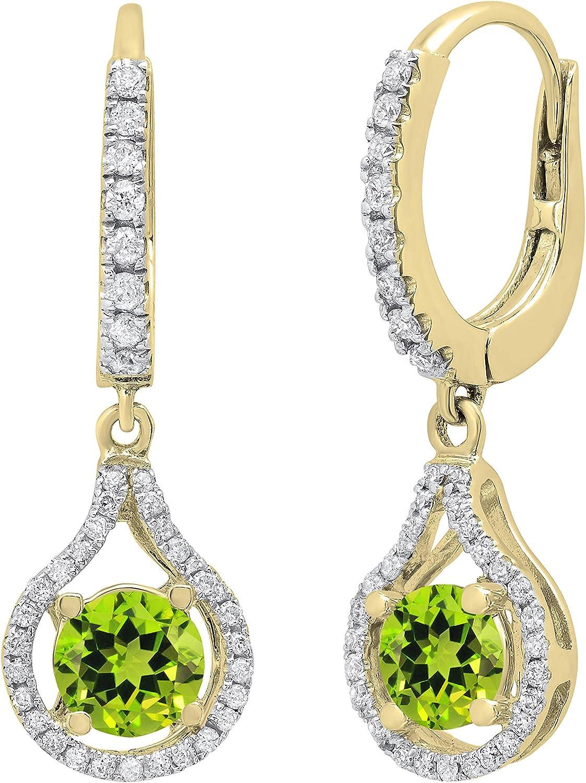Dazzlingrock Collection 5.5 MM Round Gemstone & White Diamond Ladies Teardrop Frame Dangling Drop Earrings, Available in Various Gemstones in 10K/14K/18K Gold