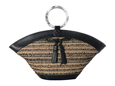 Patricia Nash Ebbe Woven Straw Mandia Dome Satchel (Black) Satchel Handbags