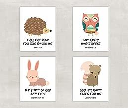 Christian Wall Art - Kids Bible Verse Prints - Woodland Animals - Nursery Wall Decor - Unframed
