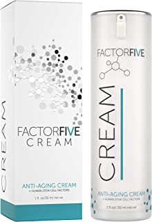 FactorFive Anti Aging Cream with Human Derived Apidose Stem Cell Growth Factors for Anti-Wrinkle, Collagen Boost, and Acne Scarring Repair, Large Size, 1fl oz/30ml