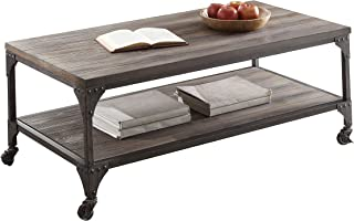 ACME Furniture Gorden Coffee Table, Weathered Oak & Antique Silver