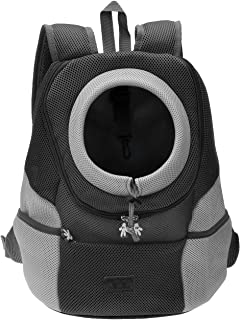 Mogoko Comfortable Dog Cat Carrier Backpack, Puppy Pet Front Bag with Breathable Head Out Design and Padded Shoulder for Hiking Outdoor Travel
